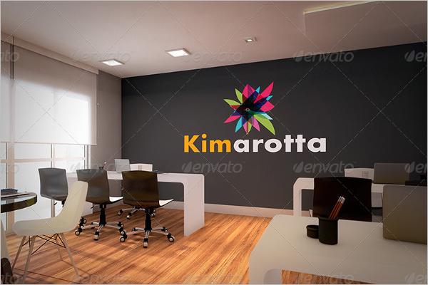 Interior Office Branding Wall Mockup