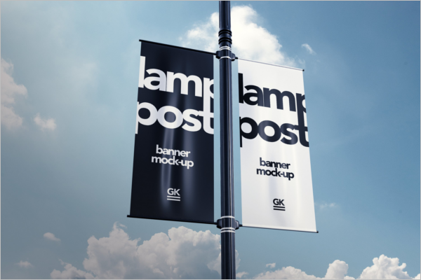 Lamp Post Banner Mock-up PSD Design