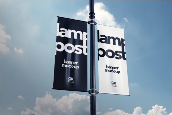 Lamp Post Banner Mock-up PSD Design