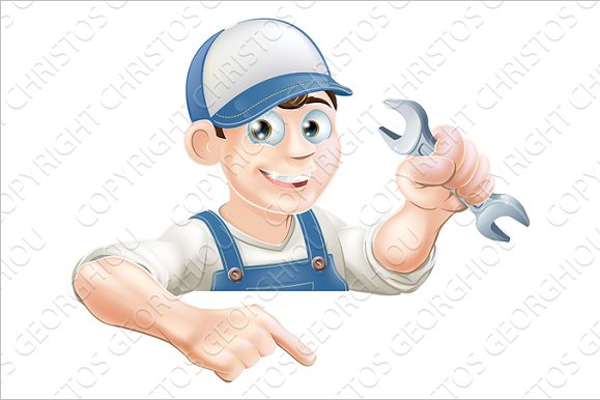 Mechanic Cartoon Photo Template
