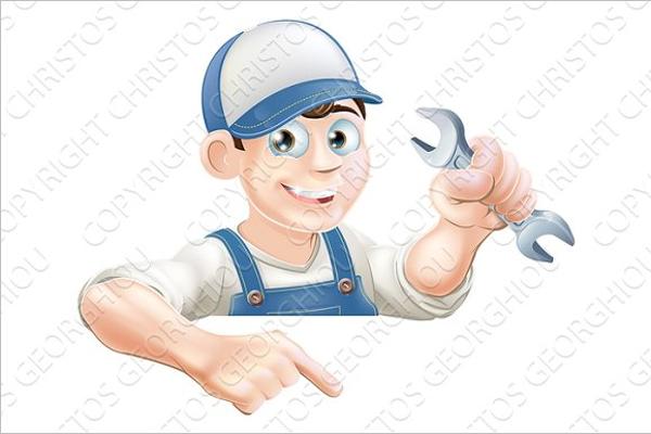 Mechanic Cartoon Photo Template