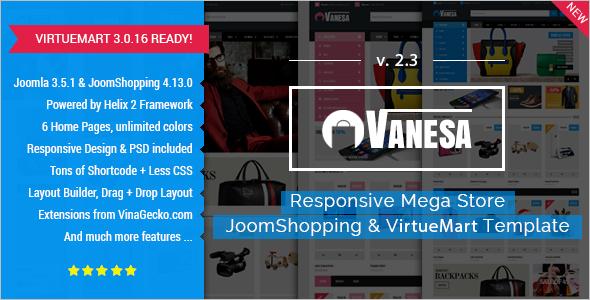 Mega Store Mobile VirtueMart Themes