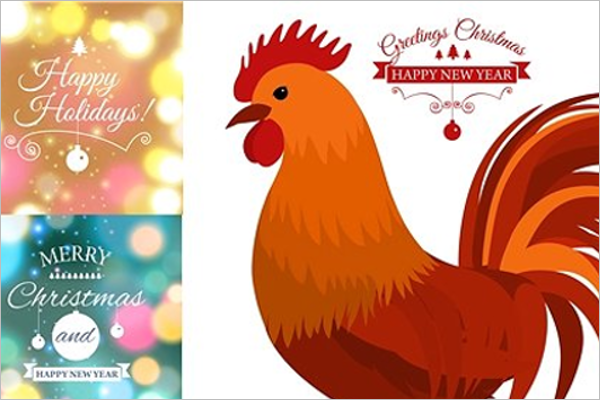 Merry Christmas Rooster Template