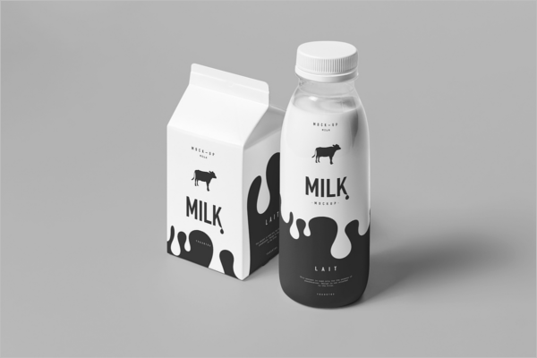 Milk Bottle Mockup Design