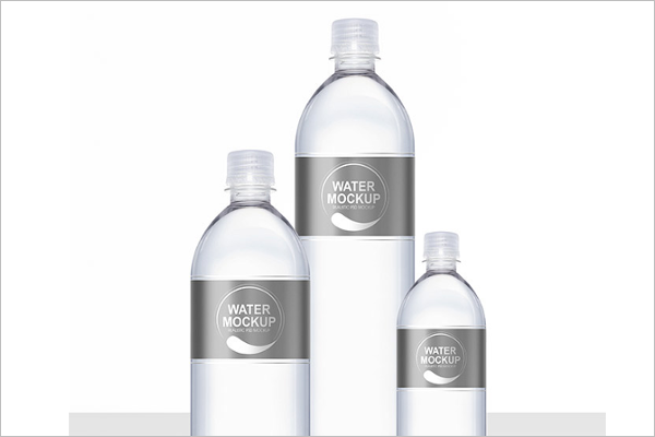 Mineral Water Plastic Bottle PSD Mockup