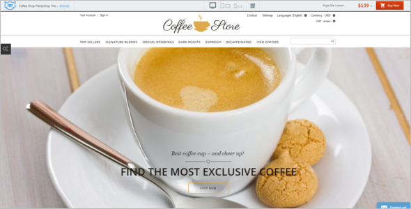 Modern Coffee Shop PrestaShop Theme