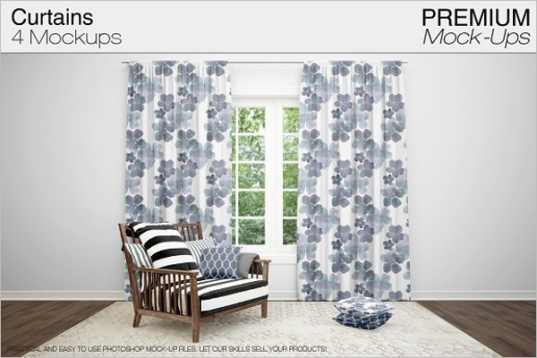 Modern Curtain Mockup Template