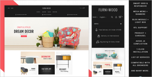 Modern Furniture Prestashop Template