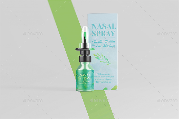 Nasal Plastic Bottle With Box Mockup