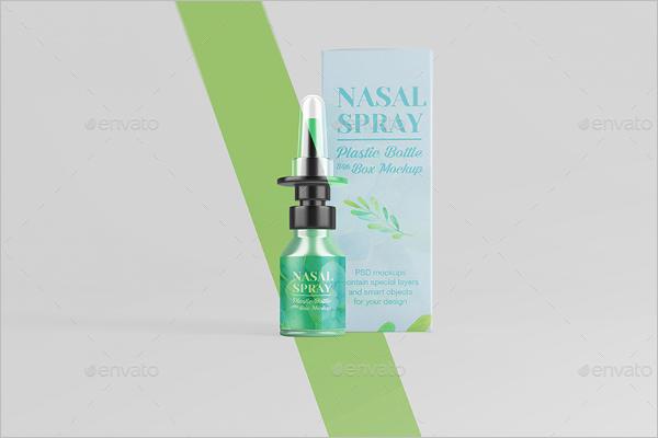 Nasal Plastic Bottle With Box Mockup
