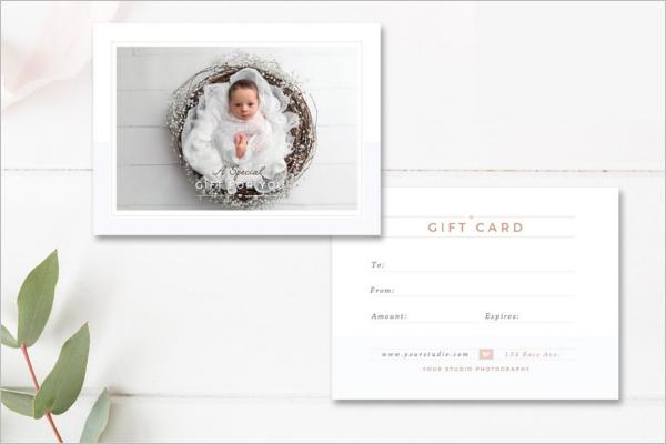 Newborn Photographer Gift Card Template