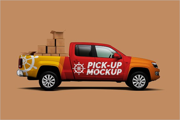 Photo realistic Truck Mockup Template