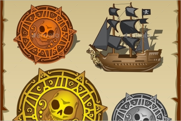 Pirate Attributes Seal and Ship Vector