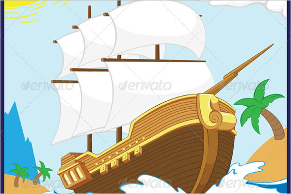 Pirate Ship on the Shore Design