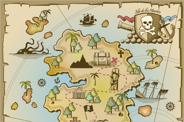 Pirate Treasure Island Vector Map