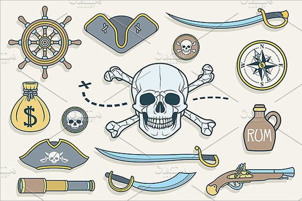 Pirates Set Vector Design
