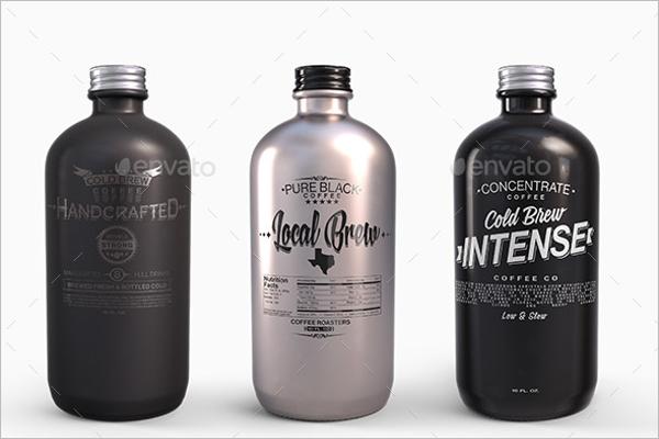 Plastic Metal Round Bottles Mockup