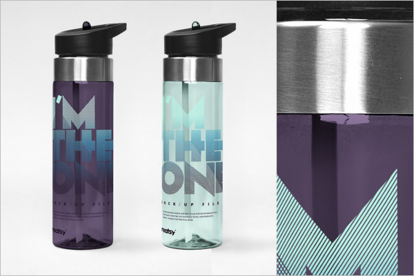 Plastic Transparent Bottle Mockup