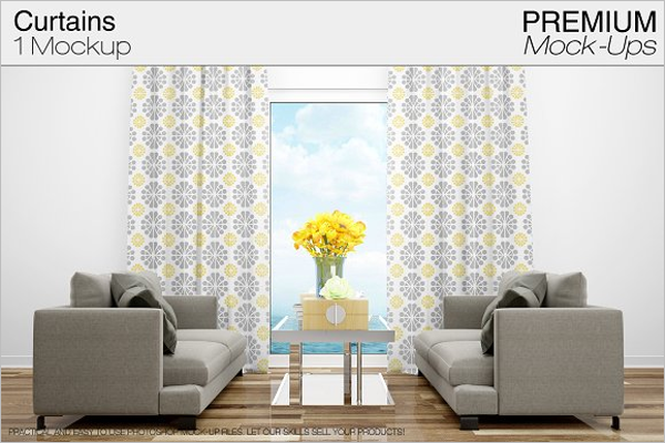 Premium Curtain Mockup Template