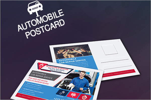 Printable Automobile Postcard Templates