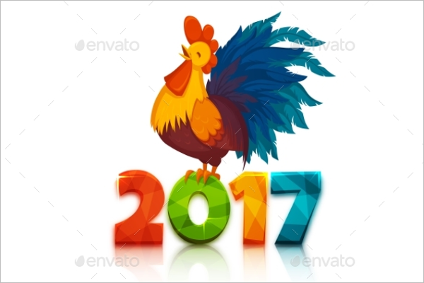Realistic Christmas Rooster Template