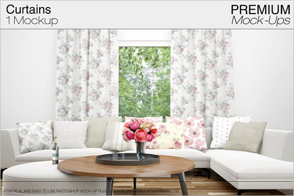 Realistic Curtain Mockup Design