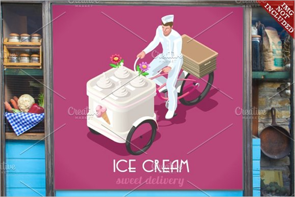 Realistic Icecream Post Card Template