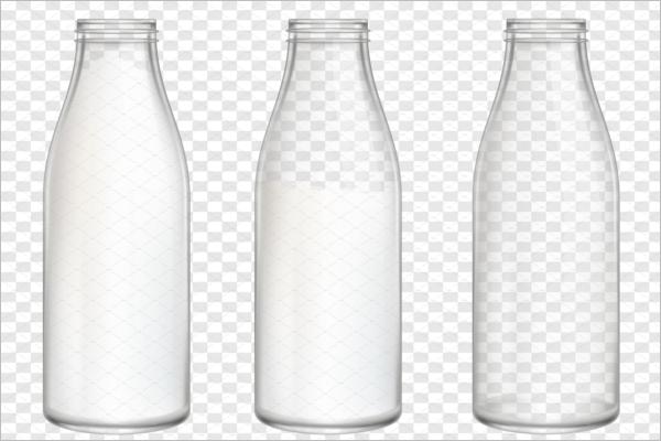 Realistic Milk Bottles Mockup
