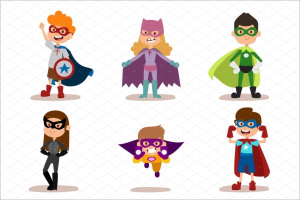 Realistic Superhero Cartoon Template