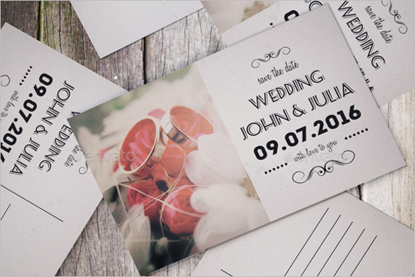 Realistic Wedding Postcard Design