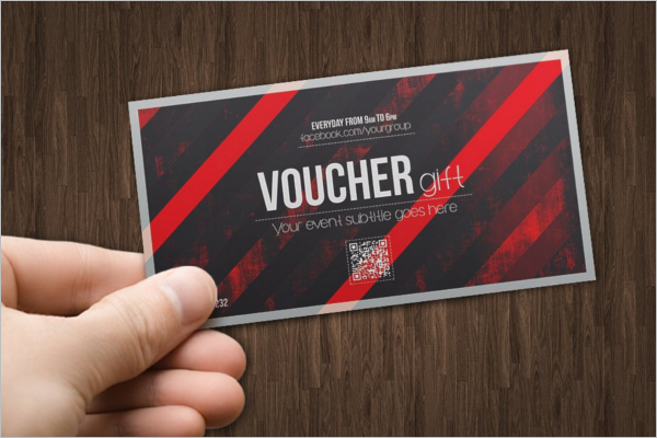 Red Color Gift Voucher Template
