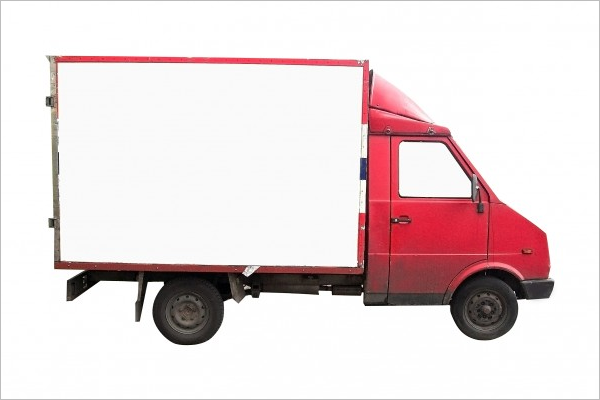 Red Truck Free Mockup Template