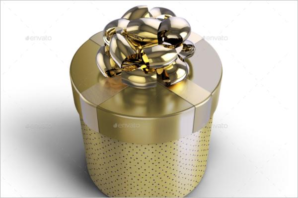 Round Gift Box Mockup Design
