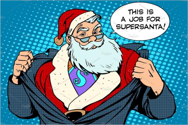 Santa Claus Super Hero Cartoon Template