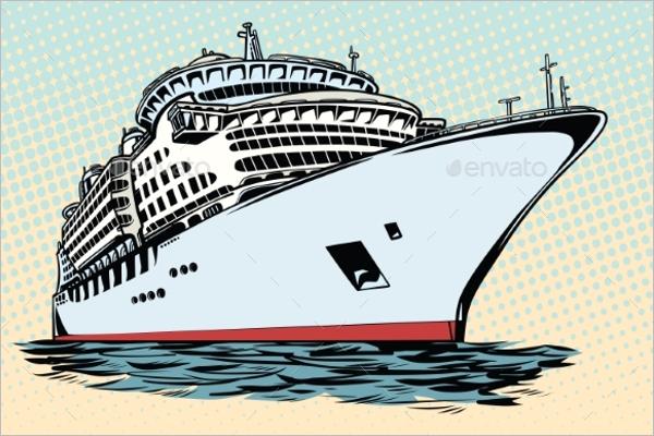 Sea Travel Ship Vector Art