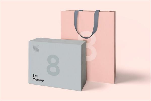 Set Of Gift Box & Bag Mockup Design