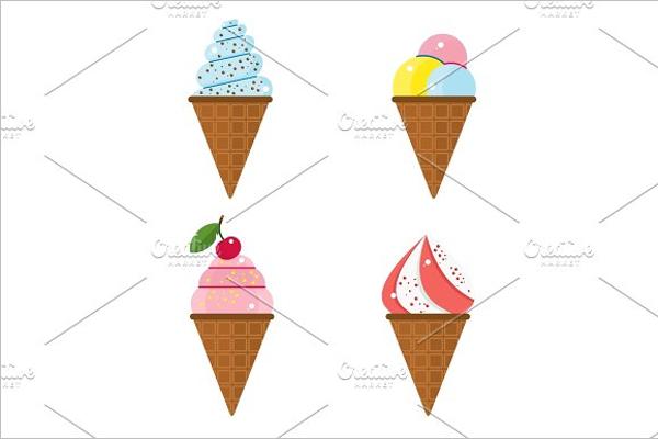 Set Of Ice Cream Post Card Design