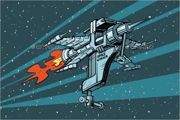 Space Ship Toopl Vector Art