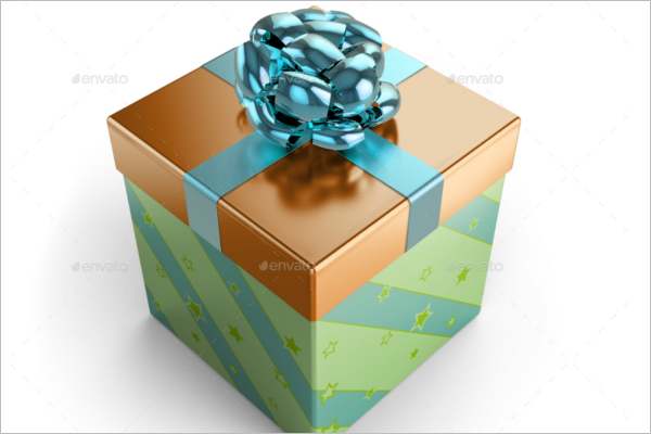 Square Gift Box Mockup Template