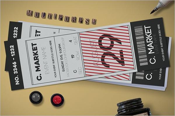 Stylish Event Ticket Mockup Design