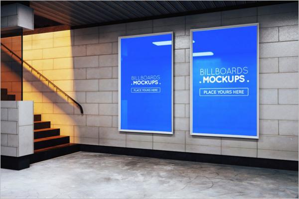 Subway Billboards Mockup PSD