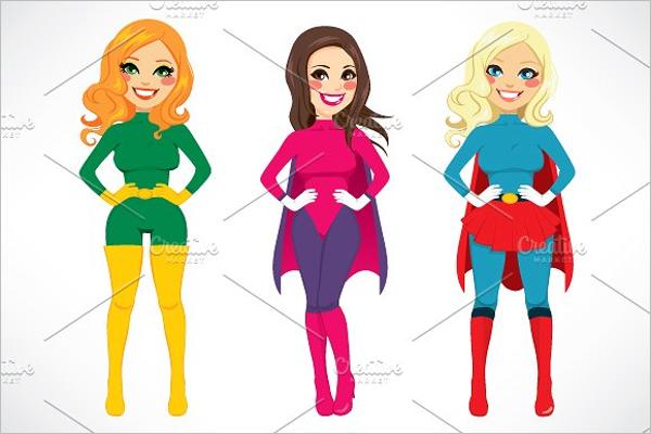 Super Hero Women Cartoon Design