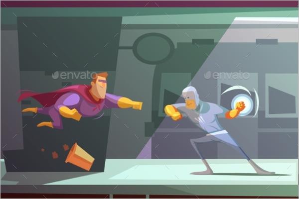 Superhero Retro Cartoon Design