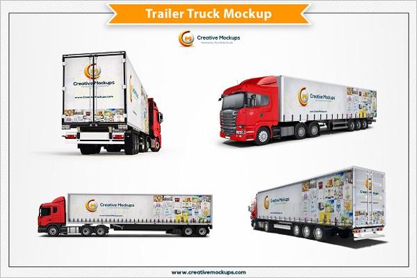 Trailer Truck Mockup Template