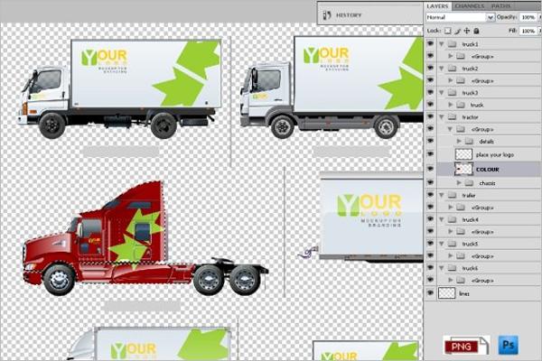 Transport Truck Mockup Template