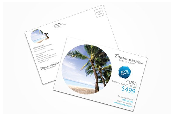 Travel Vacation Postcard Template