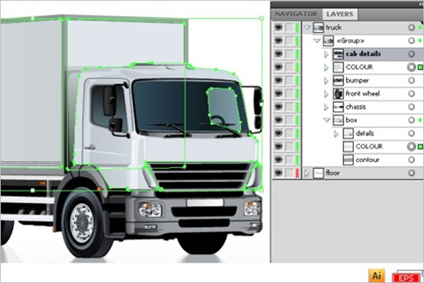 Truck Mockup Vector Template