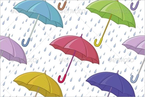 Umbrella and Rain Seamless Pattern