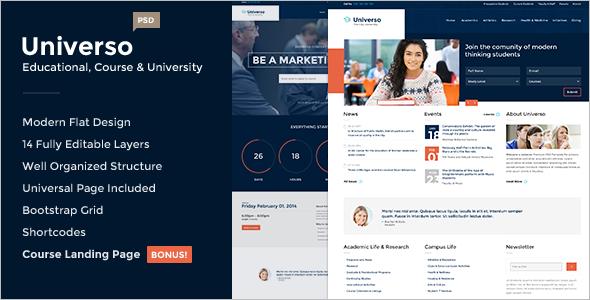University Landing Page PSD Template