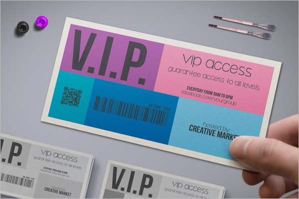 VIP Pass Ticket Mockup